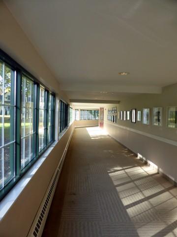 One of the covered walkways between buildings
