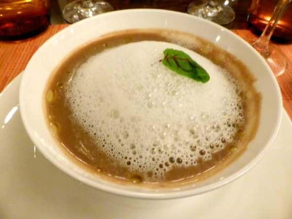 Porcini Soup with Parmesan Foam