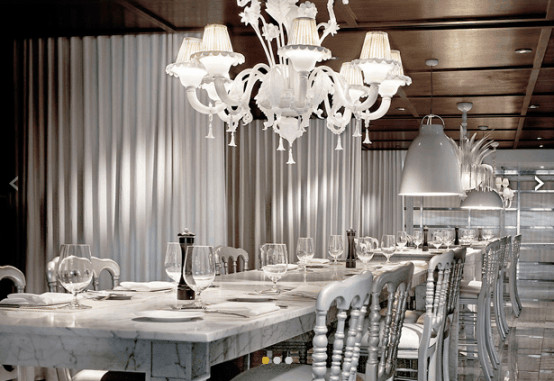 The elegant long table at Tres