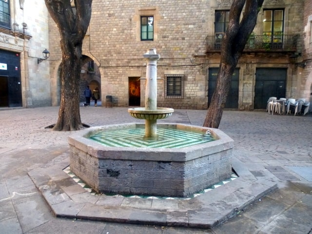 The fountain in the courtyard