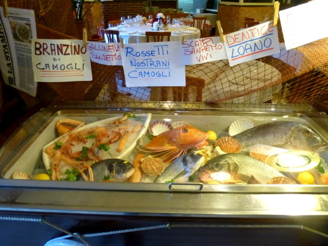 Fish at a seafood restaurant in Genoa