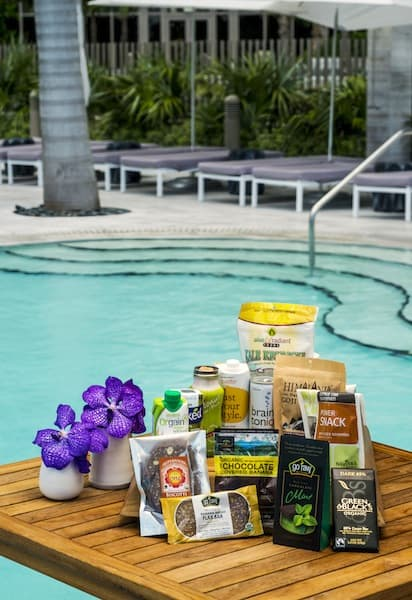 Items in the Wellness Fridge at St. Regis Bal Harbour Resort, Bal Harbour, Florida