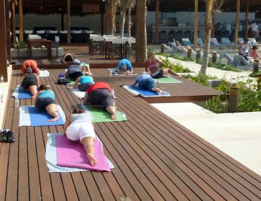 Yoga class at Secrets The Vine in Cancun