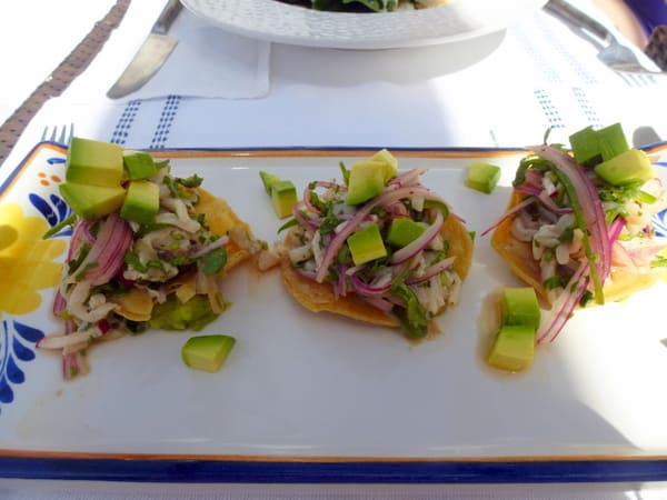 Tuna ceviche at the pool