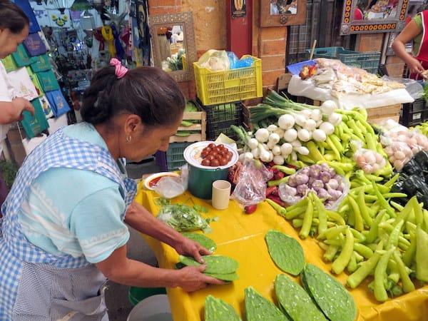 Nopales (prickly pear leaves) at the Mercado Ignacia Ramirez in San Miguel de Allende
