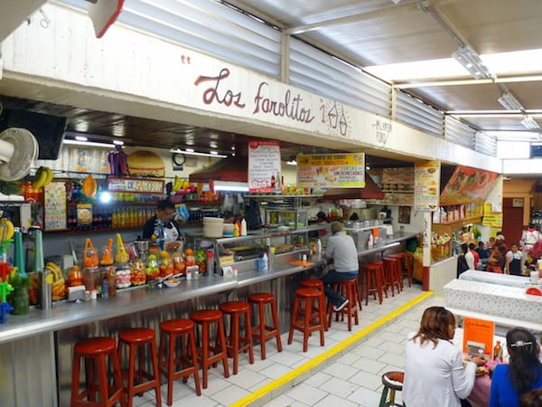 One of many food counters at the market in San Miguel de Allende