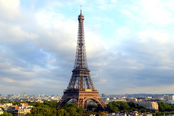 View of the Eiffel Tower from the window of our room