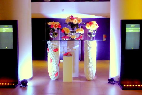 The welcoming lobby with fresh flowers