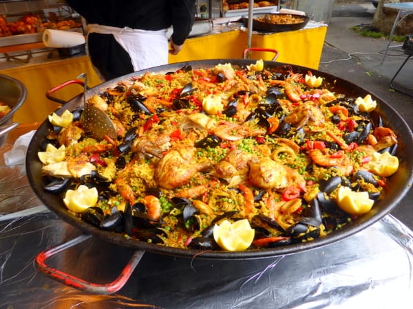 Steamy dish of fresh paella