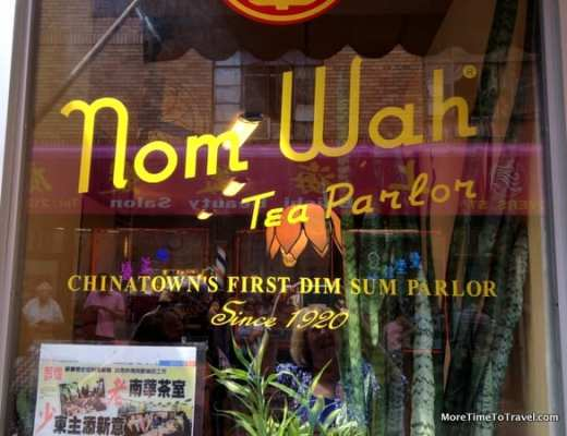 The front window at Nom Wah Tea Parlor