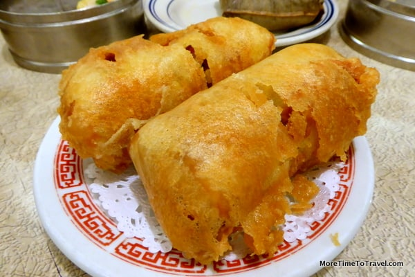 """""""The Original"""" Egg Roll 本樓香酥春卷 Chicken and mixed vegetables rolled in an egg crepe and fried"""