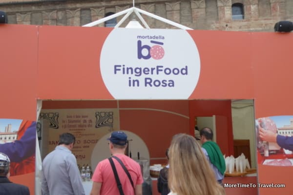Snack bar at the festival with mortadella finger foods