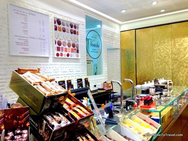 Colorful counter at Venchi