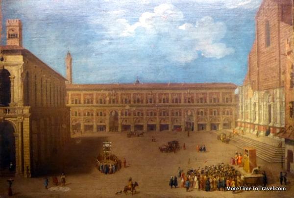 Photo of the square in years past, taken at the Museo della storia di Bologna