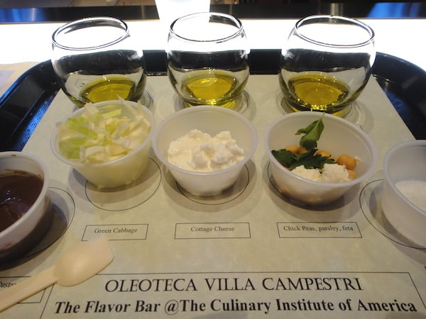 Olive oil tasting at the Culinary Institute of America in St. Helena