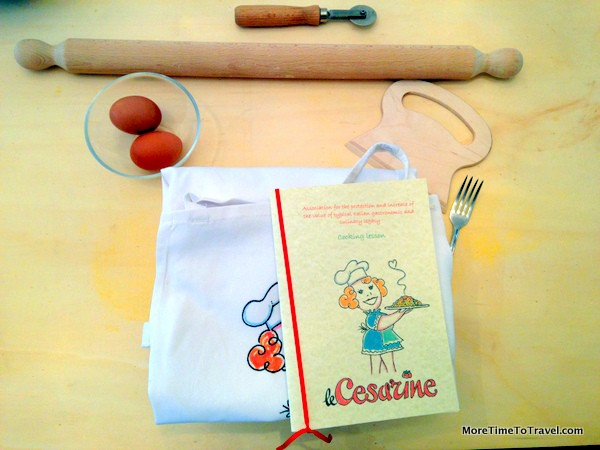 Our place settings with aprons and recipe booklets