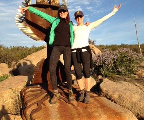 Author Sheryl Kraft hiking with her friend, Robin