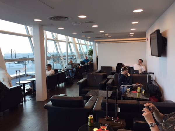 One of several seating areas in the Wingtips Lounge
