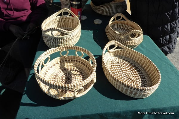 Sweetgrass baskets, used during Colonial times to separate the rice seed from its chaff, one of the oldest handcrafts of African origin in the United States