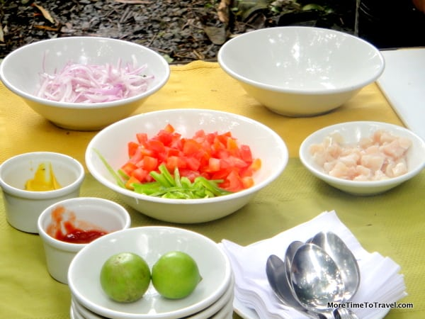 Assembling the ingredients for ceviche at Pacoche Lodge, Manta, Ecuador