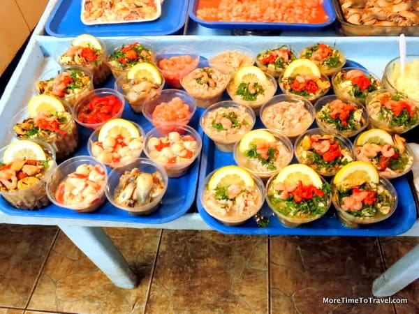 Ceviche in takeaway cups at Coquimbo Market in Chile