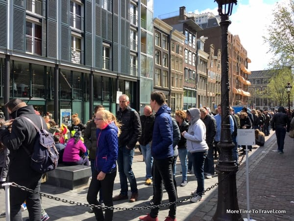Lines form near the entry to the Anne Frank House
