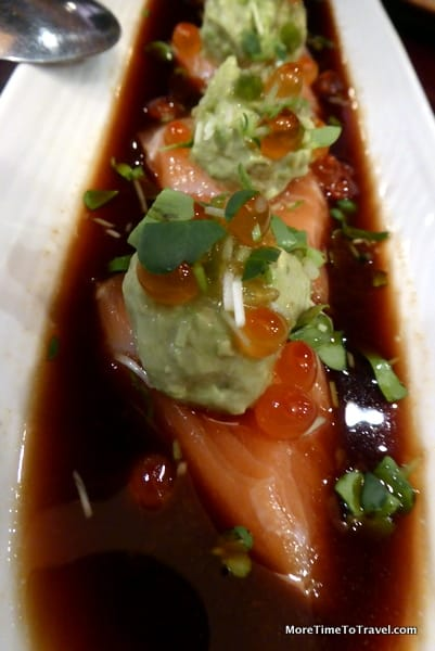 Atlantic salmon carpaccio w/mesclun, black tobiko and chive, lemon dressing