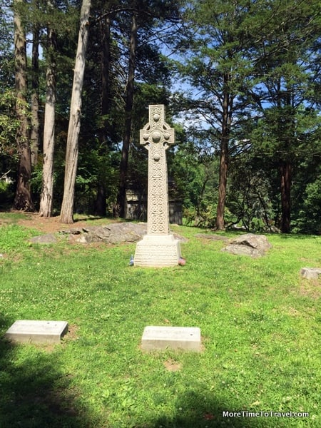 Grave of Andrew Carnegie, one of the wealthiest men in the world, is marked by a Celtic cross and simple footstone at Sleepy Hollow Cemetery