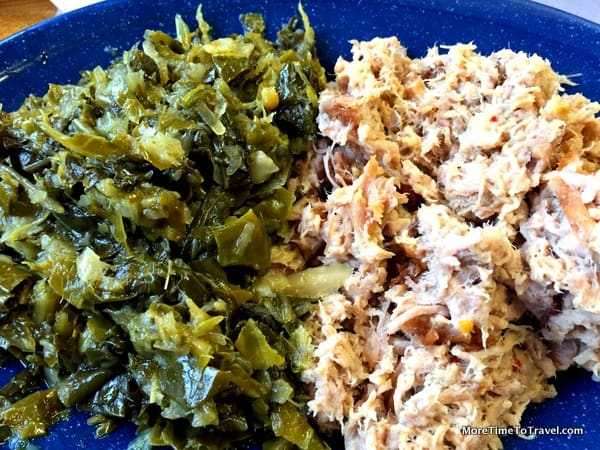 Hand-chopped pork barbecue and collard green