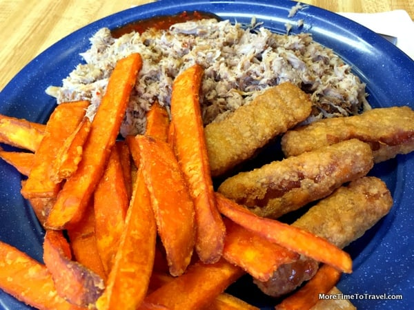 Hand-chopped pork barbecue, sweet potato fries and apple sticks