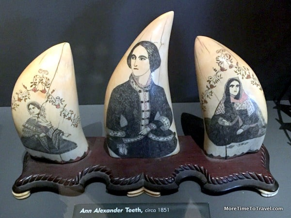 To alleviate boredom, whaleship crew often made intricate Scrimshaw engravings on whale bones or teeth