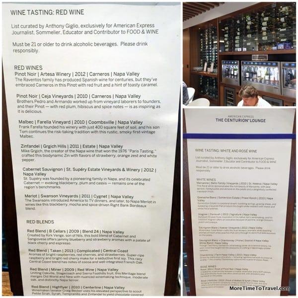 Wine-tasting wall and menus
