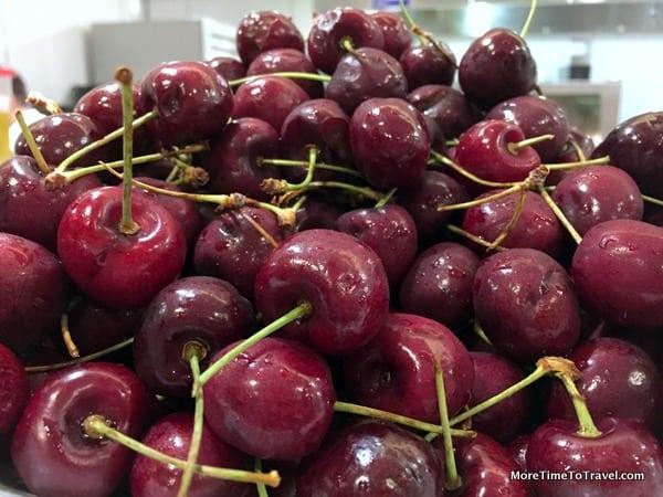 Bowl of fresh bing cherries