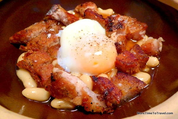 White beans with Iberian pork jowl and poached egg