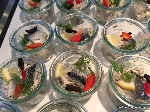 Pickled herring in the Netherlands on AmaWaterways Sonata; one of the buffet offerings