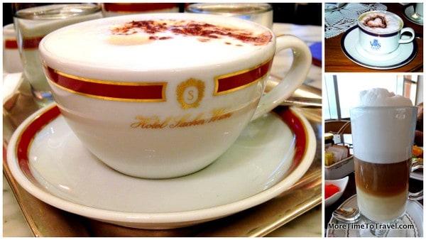 Coffee at the Sacher Hotel in Vienna, Grand Hotel Villa Serbelloni in Bellagio, Secrets The Vine in Cancun (clockwise from left to right)