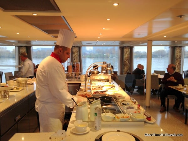 Chef making omelettes at the buffet on the Viking Freya