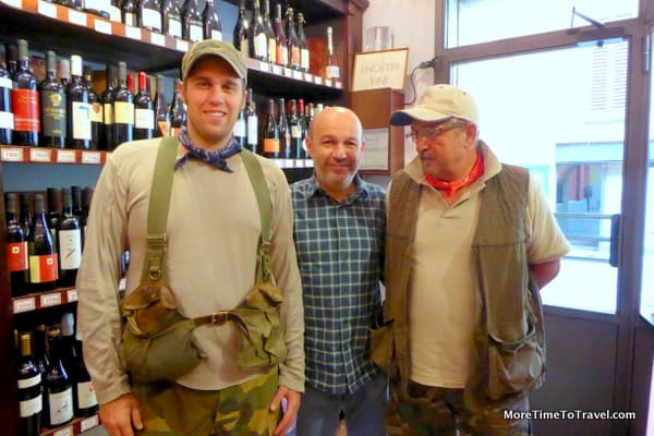 Chef Alberto Bettini flanked by Savigno truffle hunters, Maurizio Lorenzini on the left with his father-in-law Adriano Bartolini on the right