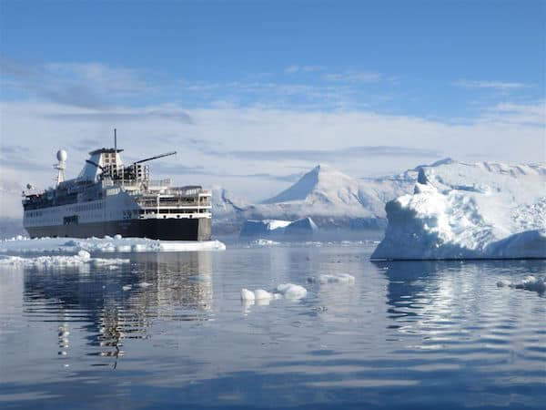 Ocean Endeavor amid the mountains and Ice