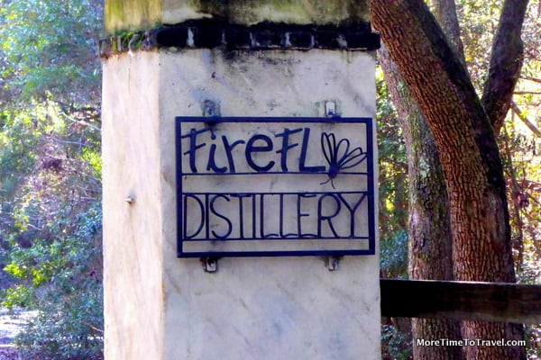 Unobtrusive, easy-to-miss, signage at entrance to Firefly Distillery