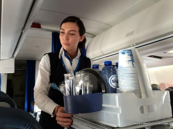 Beverage service on the KLM Cityhopper