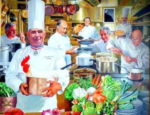 Painting of Paul Bocuse at his namesake restaurant at the CIA