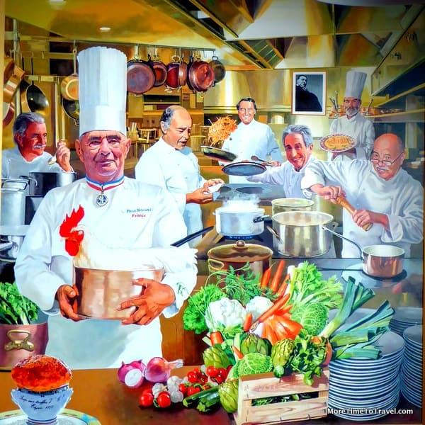 Painting of Paul Bocuse at his namesake restaurant at the CIA