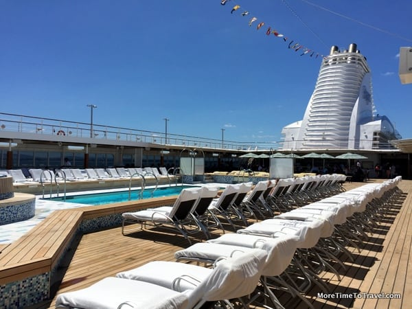 Newly refurbished pool deck on Regent Seven Seas Mariner