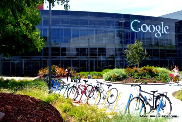 Visiting the Google campus with its primary color bicycles