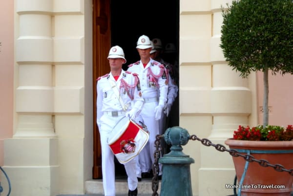 Changing of the guards at the prince's palace in Monaco