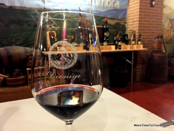 Glass of Montefalco Rosso DOC wine at Dionigi Cantina