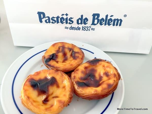 Serving of three freshly-baked Pasteis de Belem