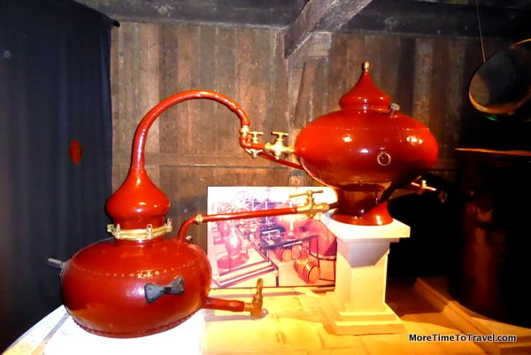 Copper still pot on display at Camus in Cognac France