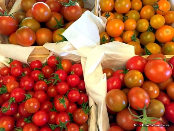 Farm-fresh tomatoes at Flora Farm